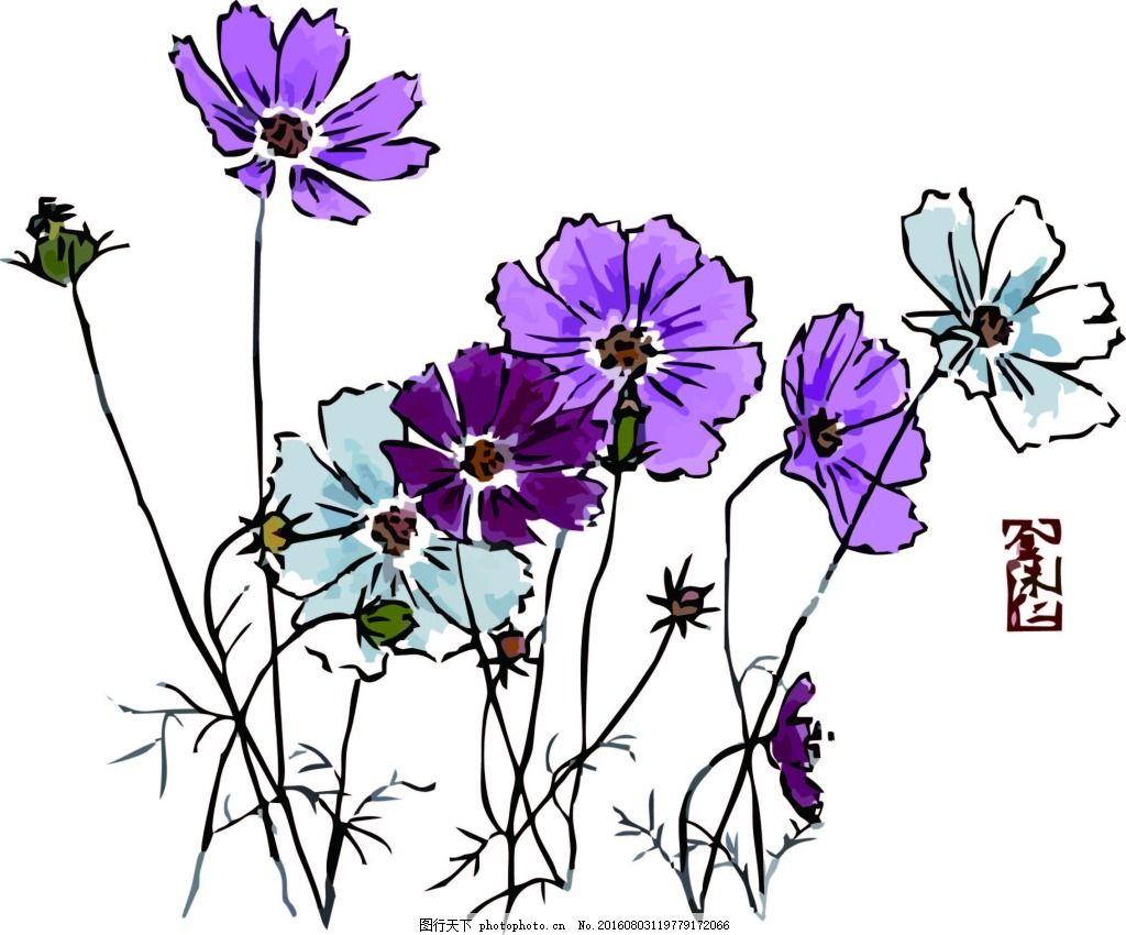 花朵工笔画 手绘花朵 国画 兰花 菊花