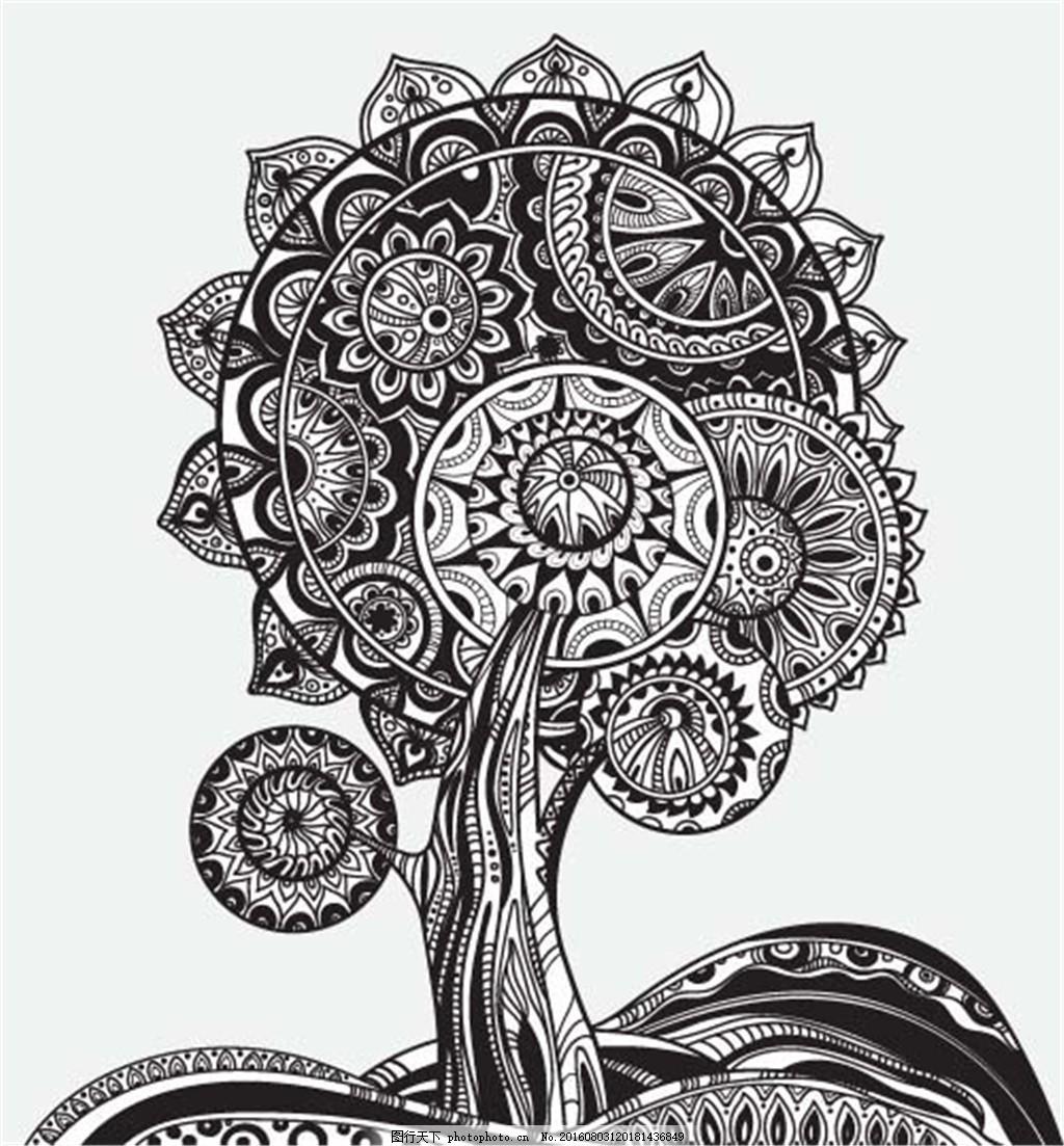 向日葵纹身图案 黑白 炫酷 手绘