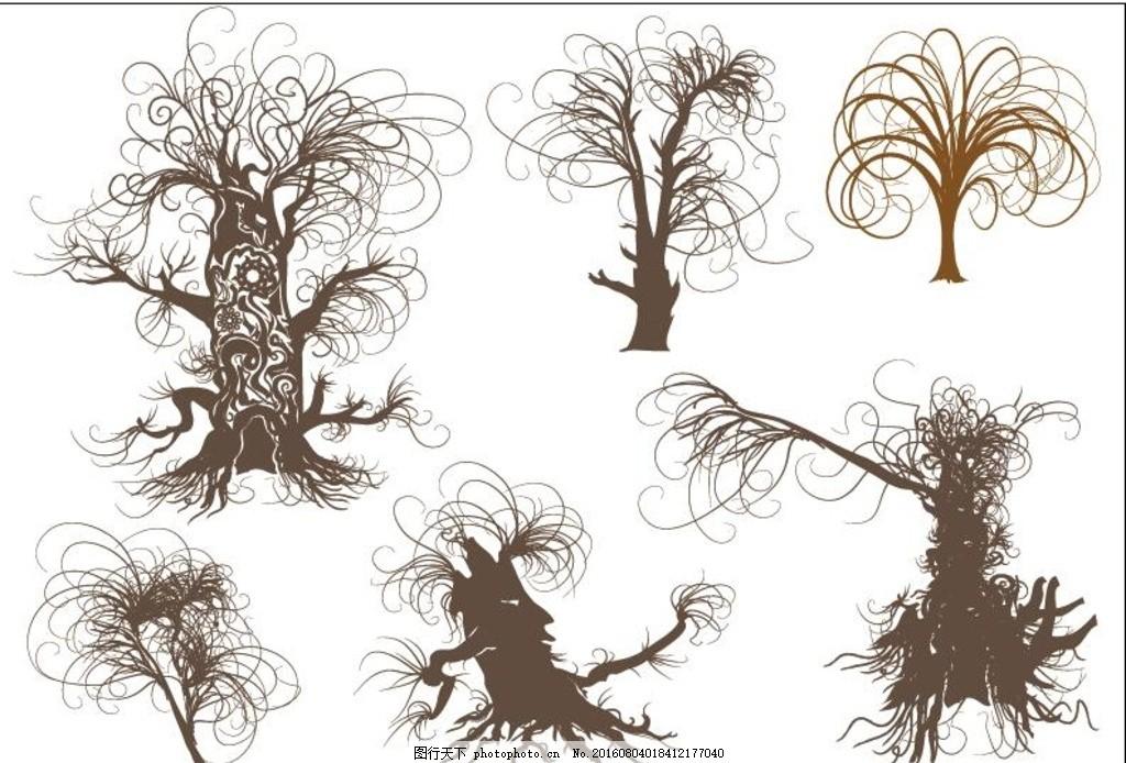 干枯树枝插画壁纸 树木矢量图 杨树 柳树 树木图标 树木素材 缤纷色彩