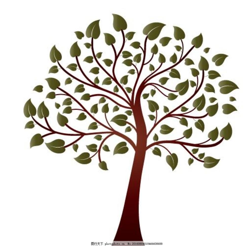 大树插画矢量图 树木矢量图 杨树 柳树 树木图标 树木素材 缤纷色彩