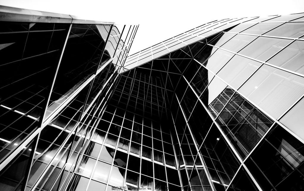 黑白玻璃建筑,玻璃墙 玻璃窗 钢构建筑 现代建筑 黑白