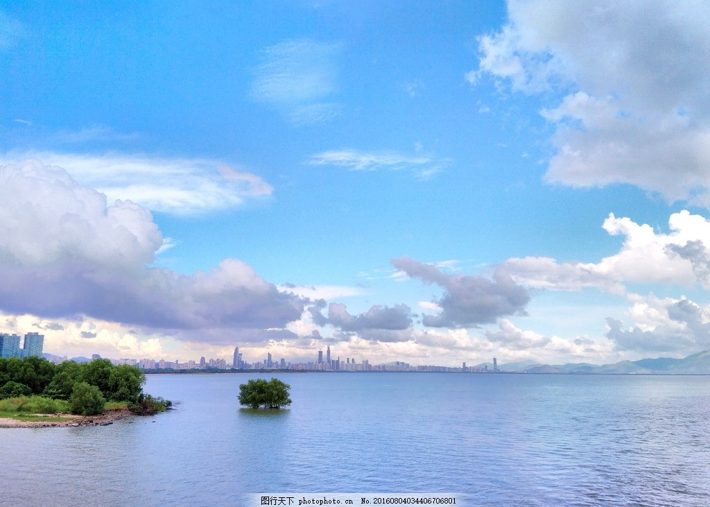 海面风景 海边风景 海上摄影 孤岛 大树 水面 蓝天 白云 唯美风景