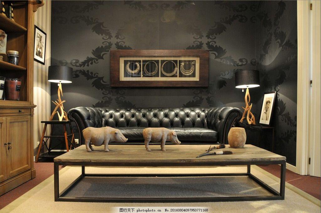 美式室内 黑色背景墙 真皮沙发 美式格调 原木茶几 陶泥摆设