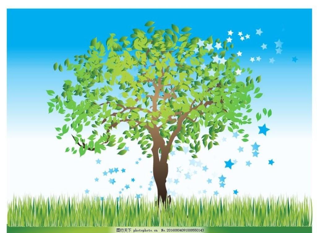 大树矢量素材 树木矢量图 杨树 柳树 树木图标 树木素材 缤纷色彩
