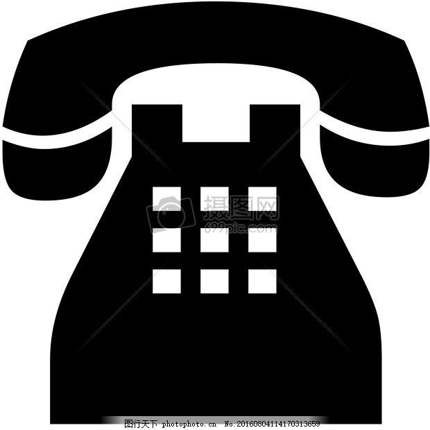 手绘简易电话 经典 侧影 图黑白 背景 红色
