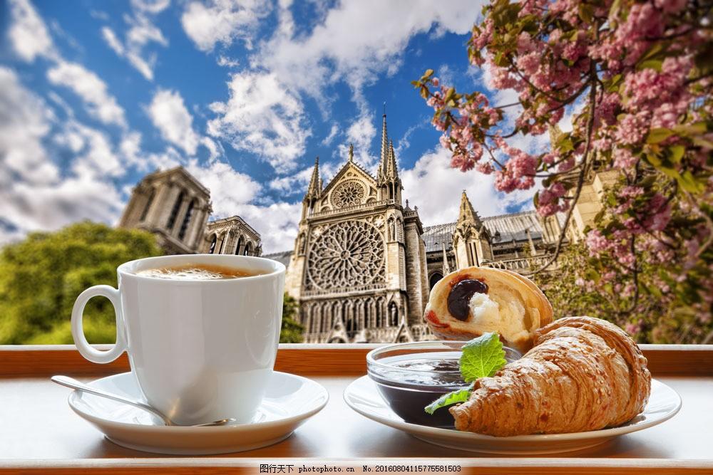 美麗的風景與咖啡面包圖片