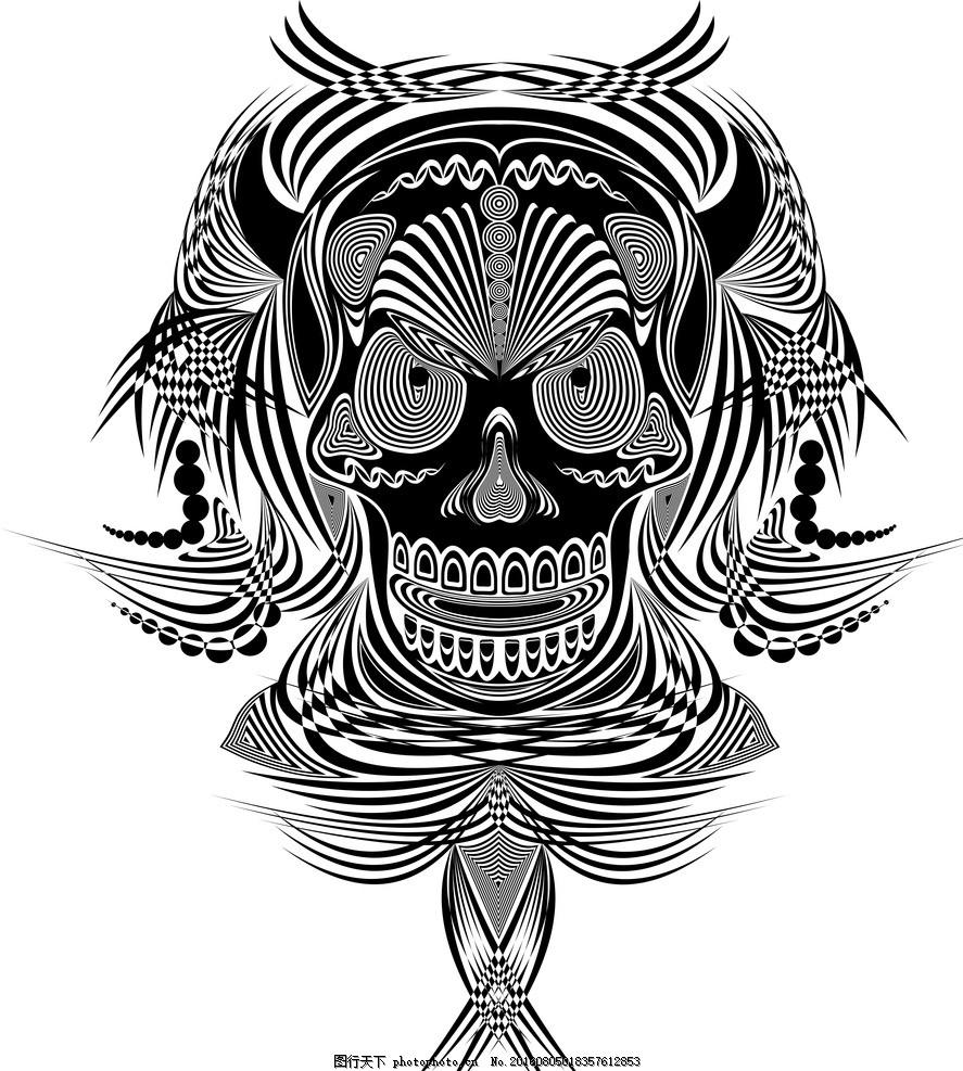 手绘面具 插画 图案 骷髅 人脸 动画 设计素材 动漫动画