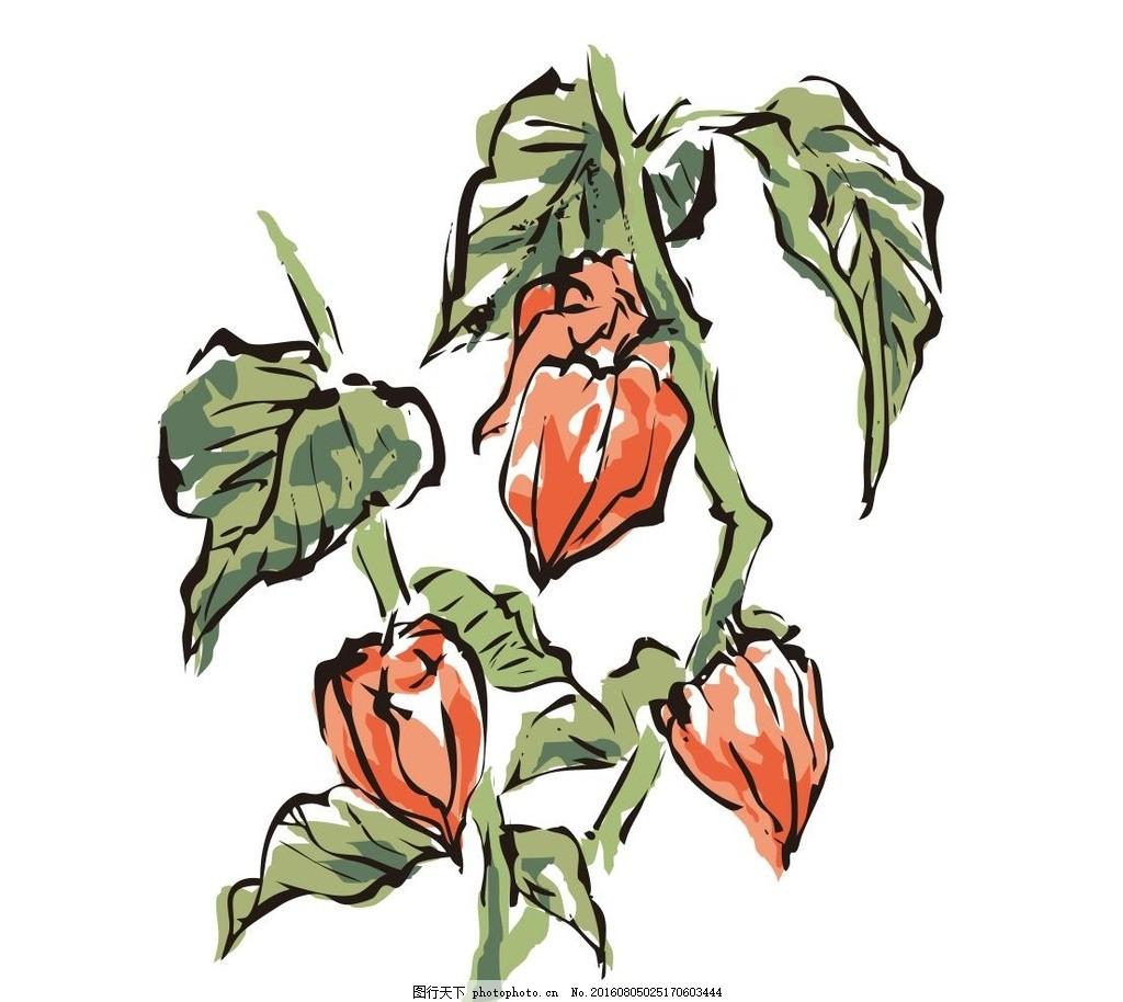 水彩画 红花