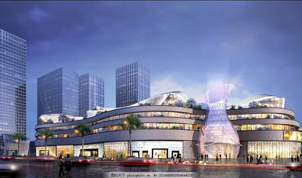 设计图库 环境设计 建筑设计  购物中心广场项目效果图 商业 购物中心