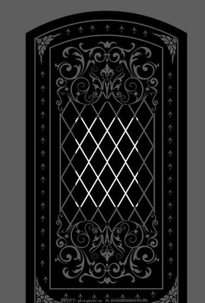 黑白欧式门花纹矢量素材 木雕 花格 雕花 木雕模型 雕刻 黑白欧式门