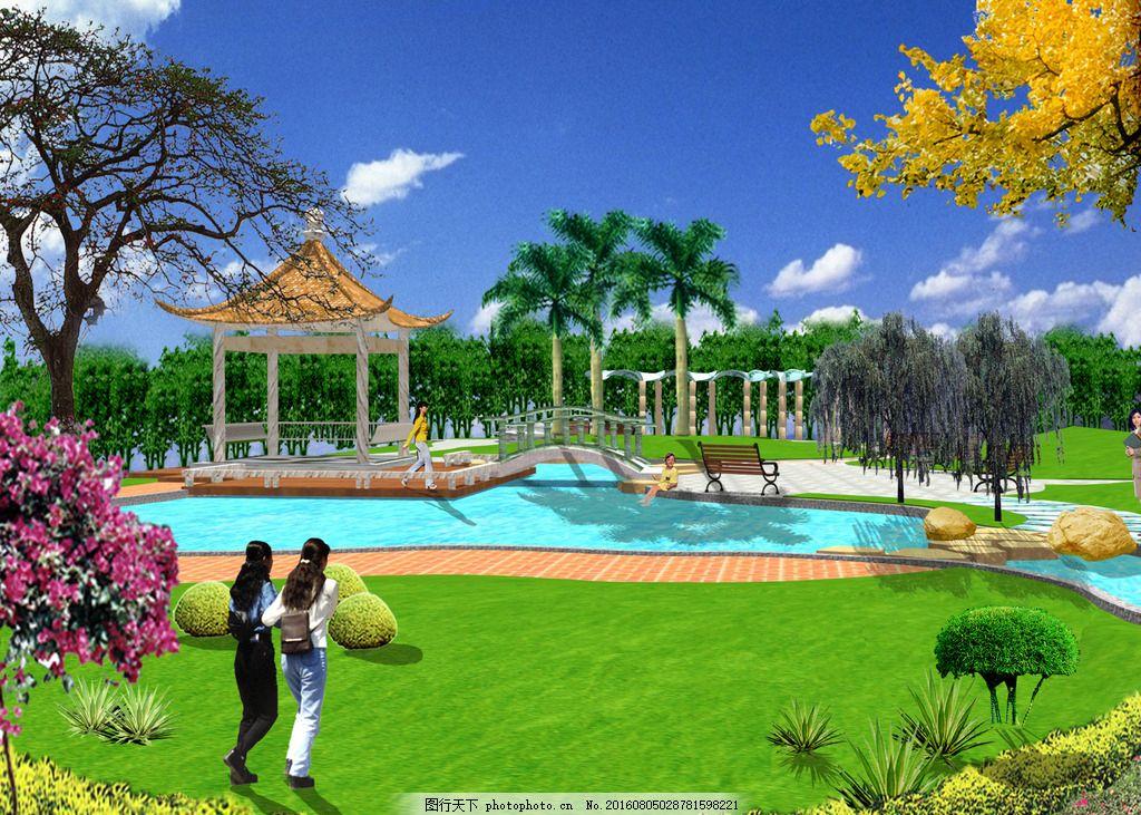 水 亭子 公园 小游园 草 设计 环境设计 园林设计 72dpi psd