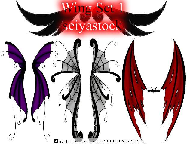 手绘妖精翅膀,恶魔翅膀,精灵翅膀,吸血鬼翅膀,蝙蝠翅膀ps笔刷素材#.