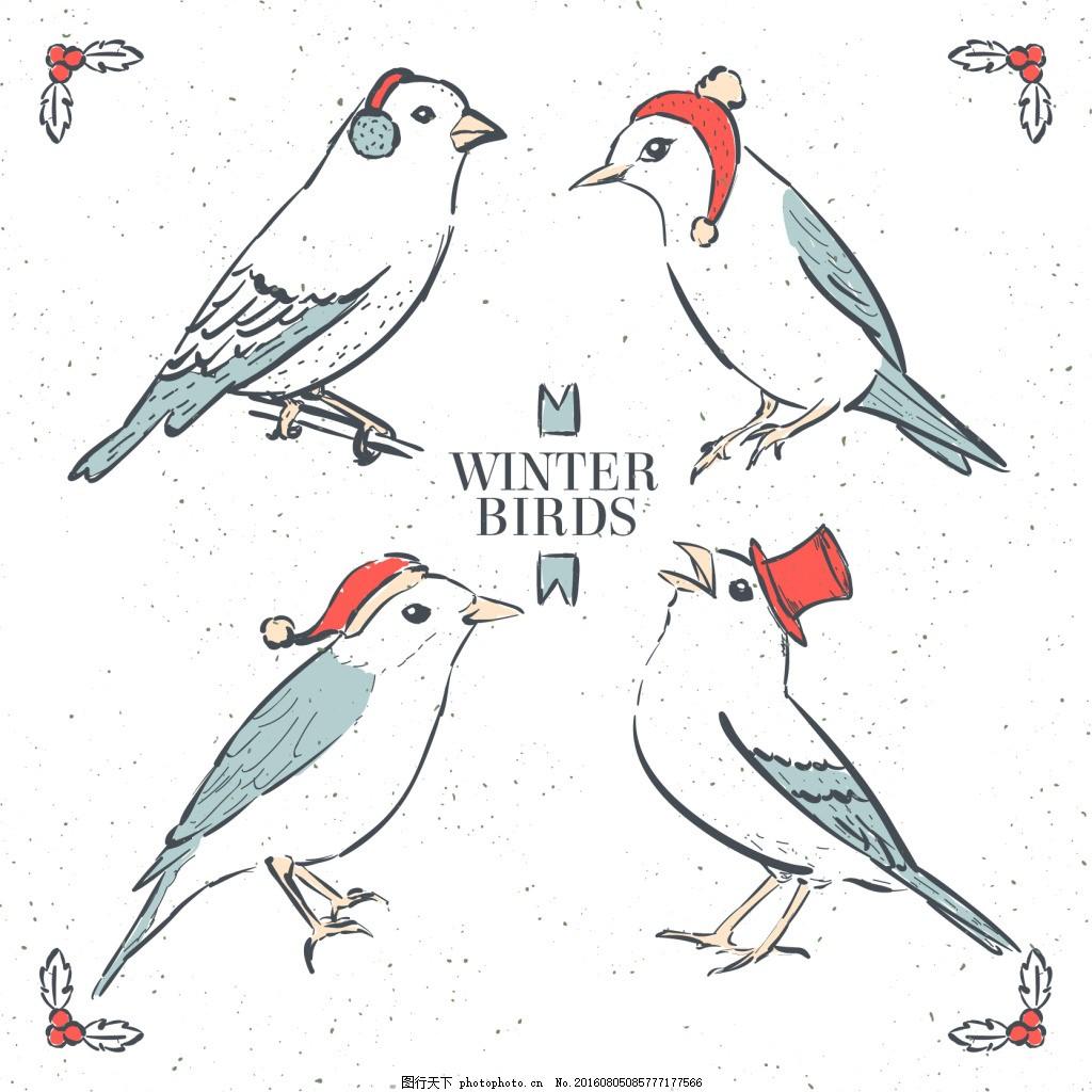 红色手绘鸟