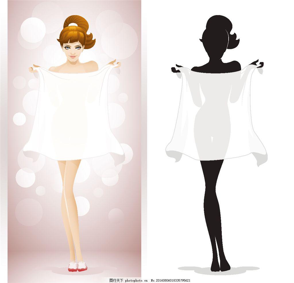 拿着纱巾的性感美女 美女剪影 时尚美女 美女插画 卡通美女漫画