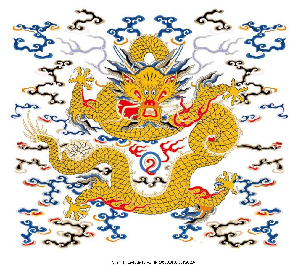 中国云龙高清ai文件 古典龙矢量图矢量素材 中国龙柱 龙纹 古典龙纹