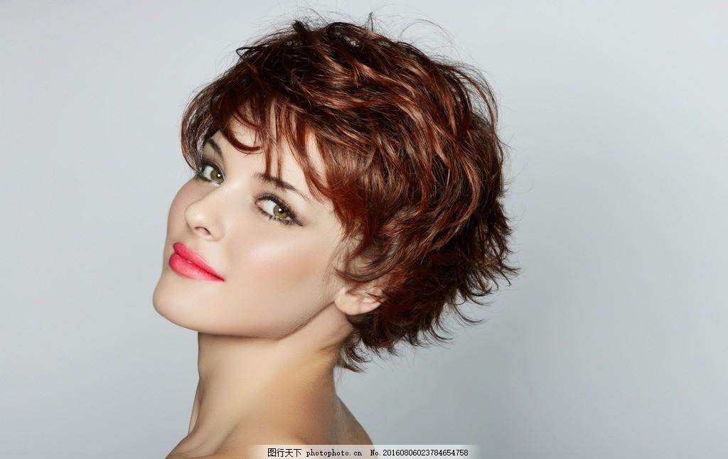 短发 美女 模特 发型 美发 时尚 化妆 女孩 摄影 女性女人