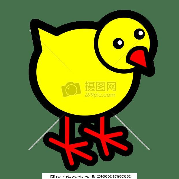 粗线条的简笔画 动物 艺术 鸟 卡通 简笔画 小黄鸭     红色 jpg