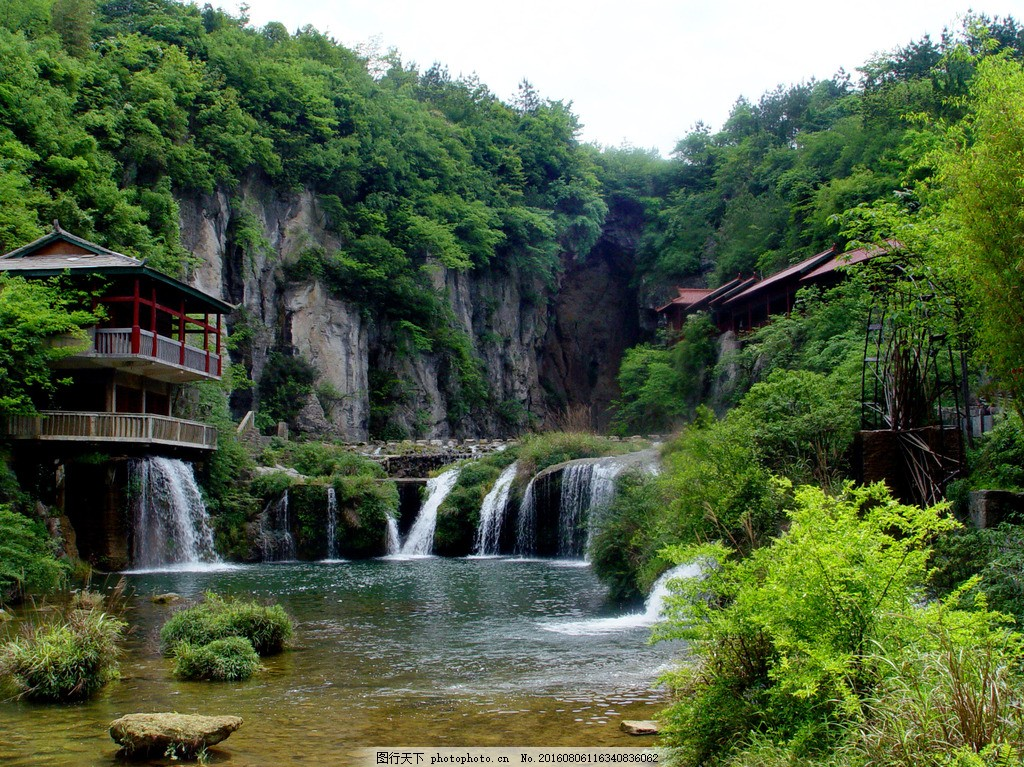 瀑布风景 瀑布风景高清图片下载 山岭 山石 山林 树木