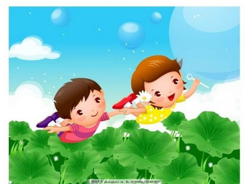 矢量插画儿童与荷叶 卡通 儿童 插图 牵手 卡通人物 飞翔 荷叶 小孩