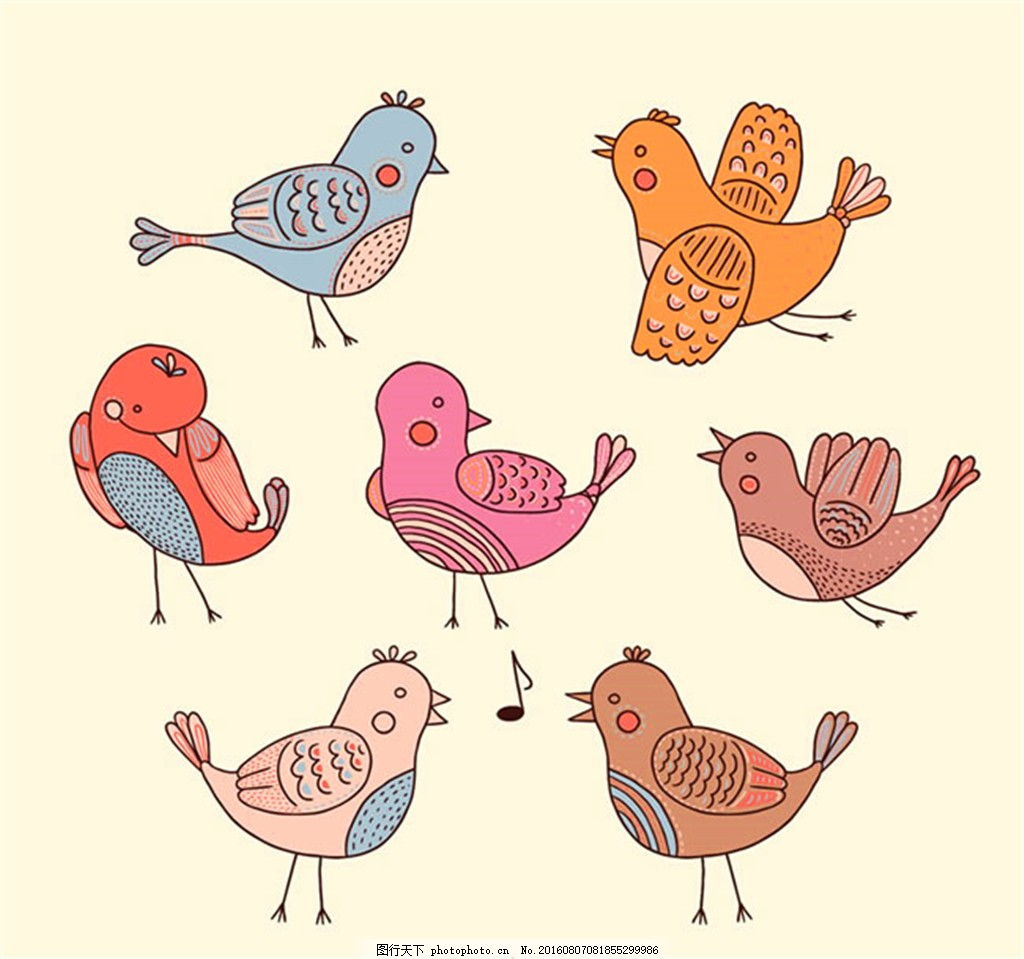 7款手绘鸟类矢量图 手绘矢量图 小鸟矢量图 卡通小鸟 音符