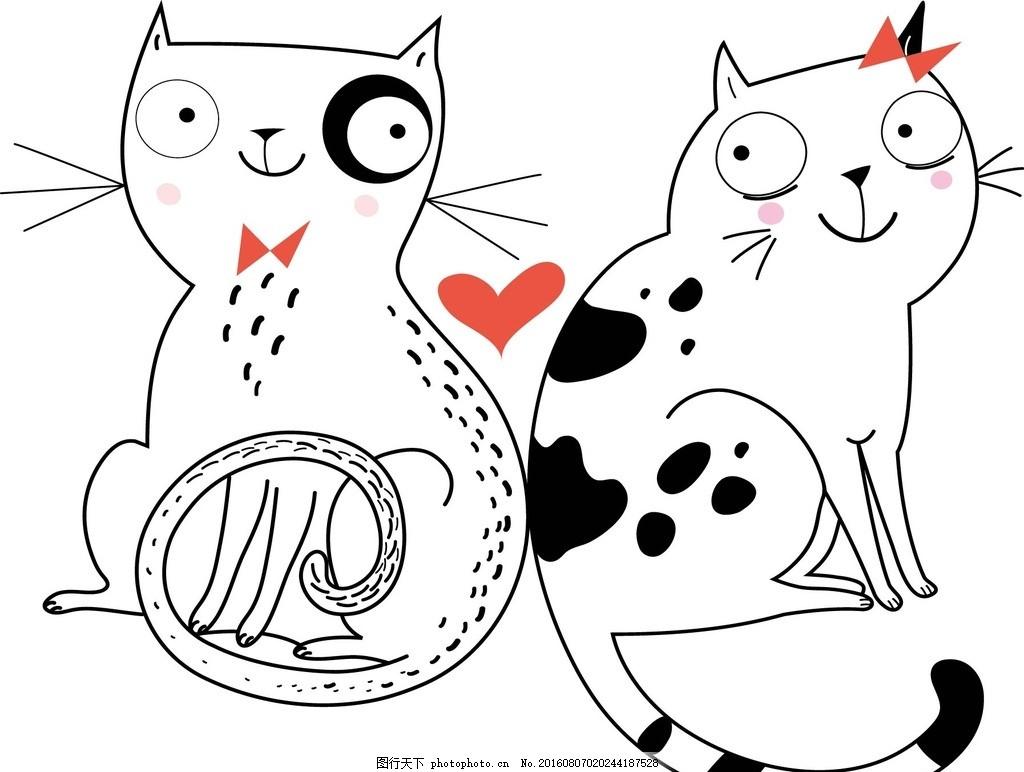 猫,猫咪 爱心 底纹背景 花纹花边 相爱 情人节 婚庆