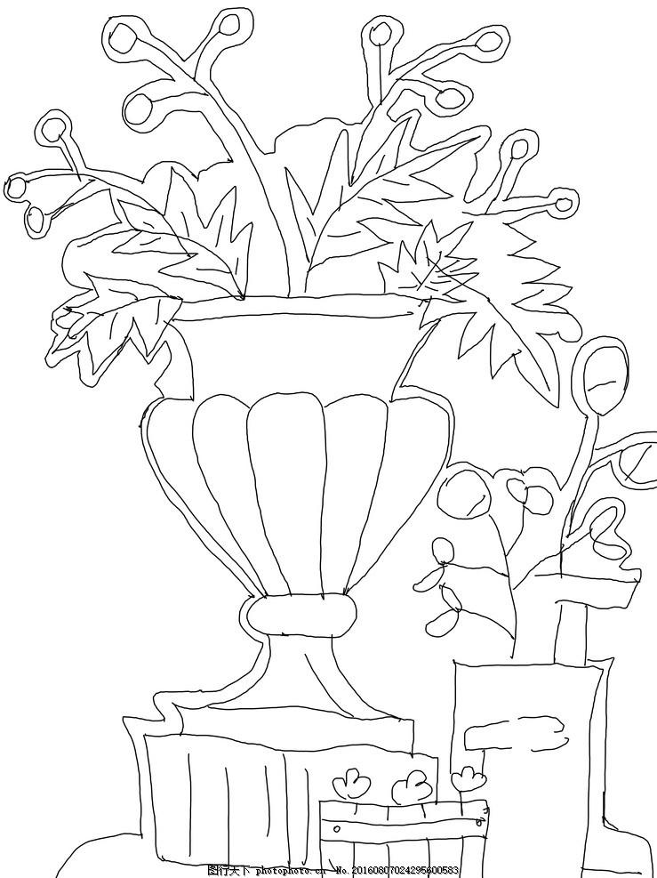 手绘花池 欧式花台 花盆 花瓶 植物 公园