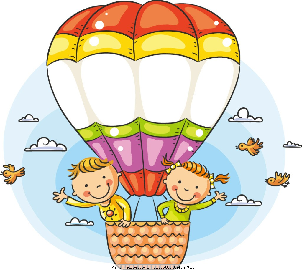 热气球上的卡通儿童