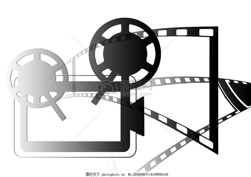 投影仪的剪影 电影 电影放映机 看电影 示范 幻灯片 黑色 视频