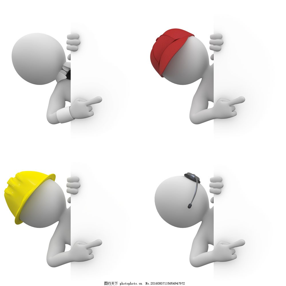 3d小人与广告牌图片素材 3d小人 广告牌 职业人物 安全帽 其他人物