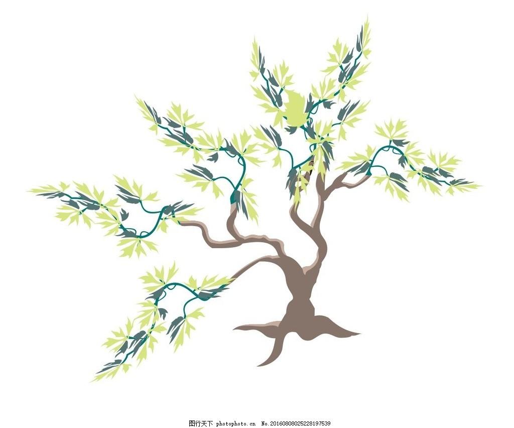 植物 树木 草木 艺术插画 插画 装饰画 简笔画 线条 线描 简画 黑白画