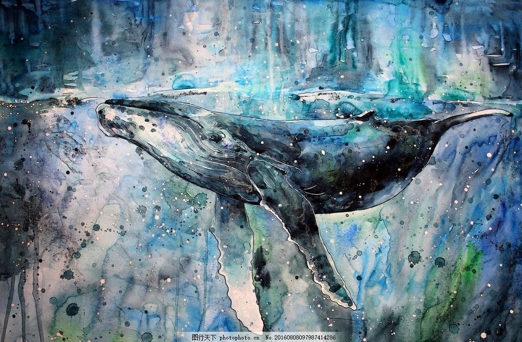 鲨鱼 手绘 水彩 彩绘 绘画 素材 装饰画 无框画 海底世界 博物馆 海洋