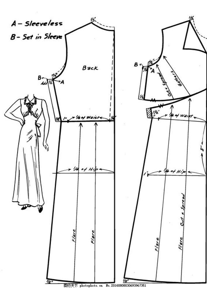 服装的式样,服装款式 服装平面样板 服装打板 裙子-图