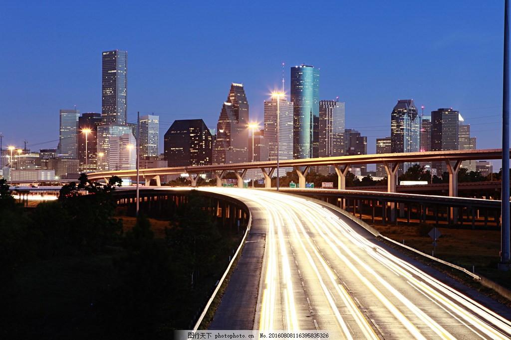 高清城市夜景图片下载 景 道路 公路 高架桥 高楼