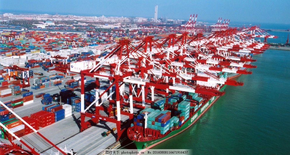 青岛港 宁波 舟山港 码头 大港 港口 万吨轮 集装箱 货柜 出口 贸易
