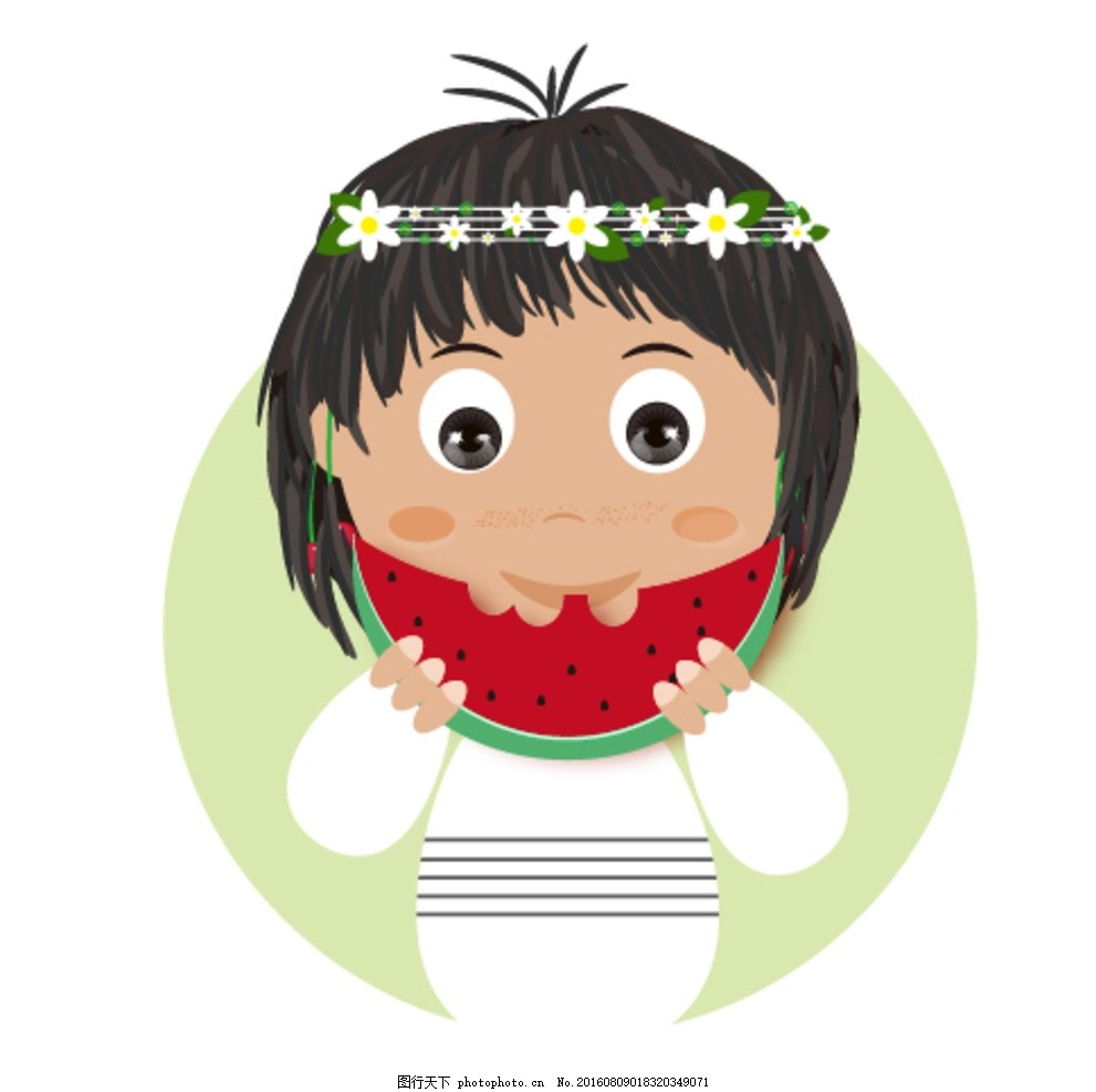 卡通吃西瓜的女孩 卡通 可爱 西瓜 女孩 人物 动漫 海报 设计 动漫