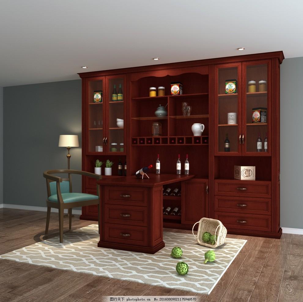 酒柜 吧台        室内设计 欧式酒柜 客厅酒柜 设计 3d设计 3d作品 7