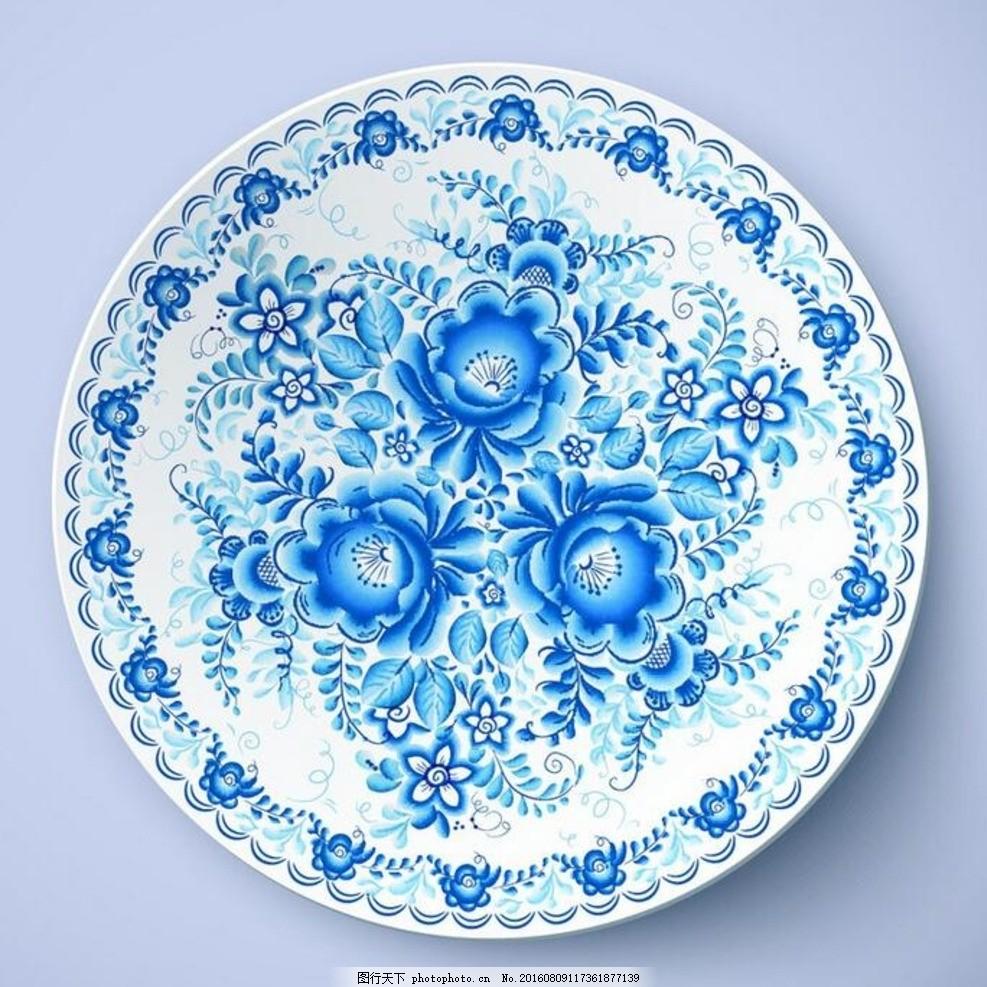 矢量蓝色手绘花卉盘子