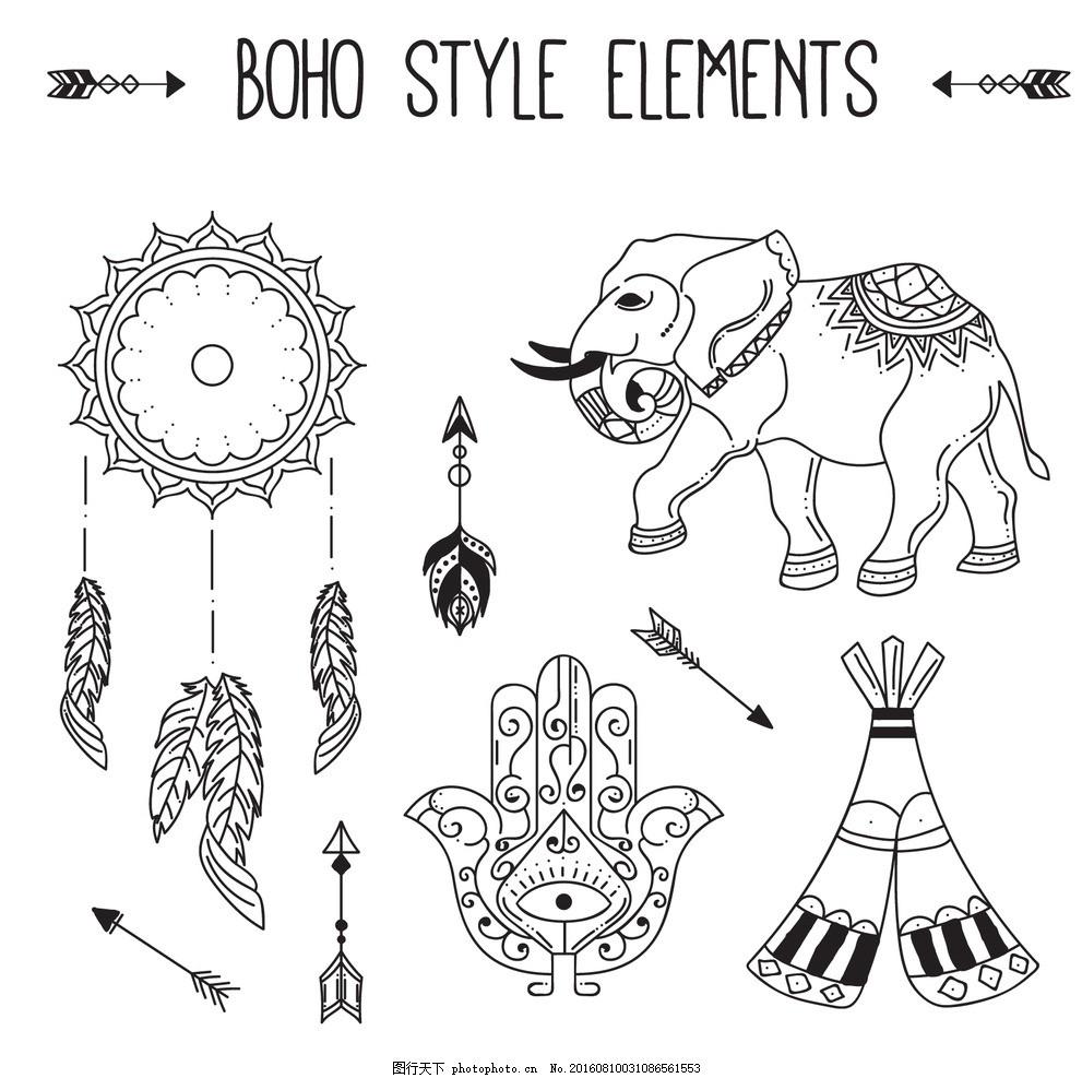 手绘大象 抽象 花画 装饰品 箭头 羽毛 印度 部落 绘图 元素