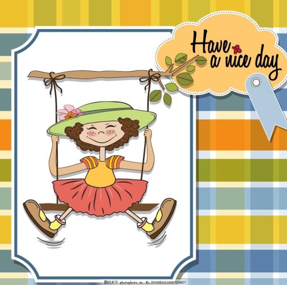 可爱的女孩 小孩 矢量人物 秋千 梦幻花园 树木 树枝 藤蔓 卡通画