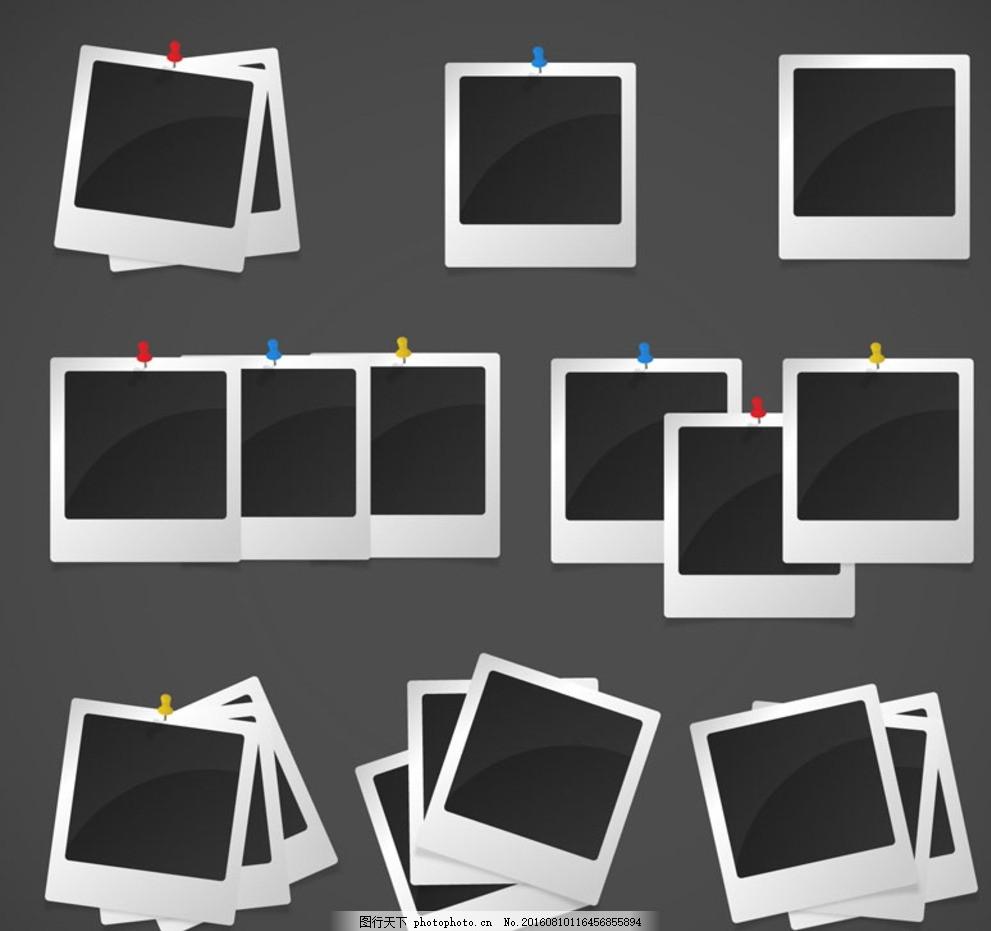 拍立得照片 照片墙 矢量图 创意设计 平面素材 广告设计