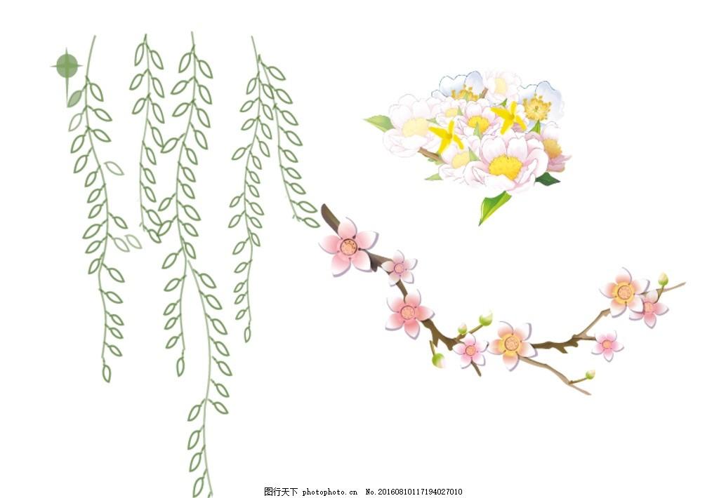 树藤 梅花 鲜花花朵 手绘花朵 梦幻花朵 矢量梦幻花朵 唯美 炫丽