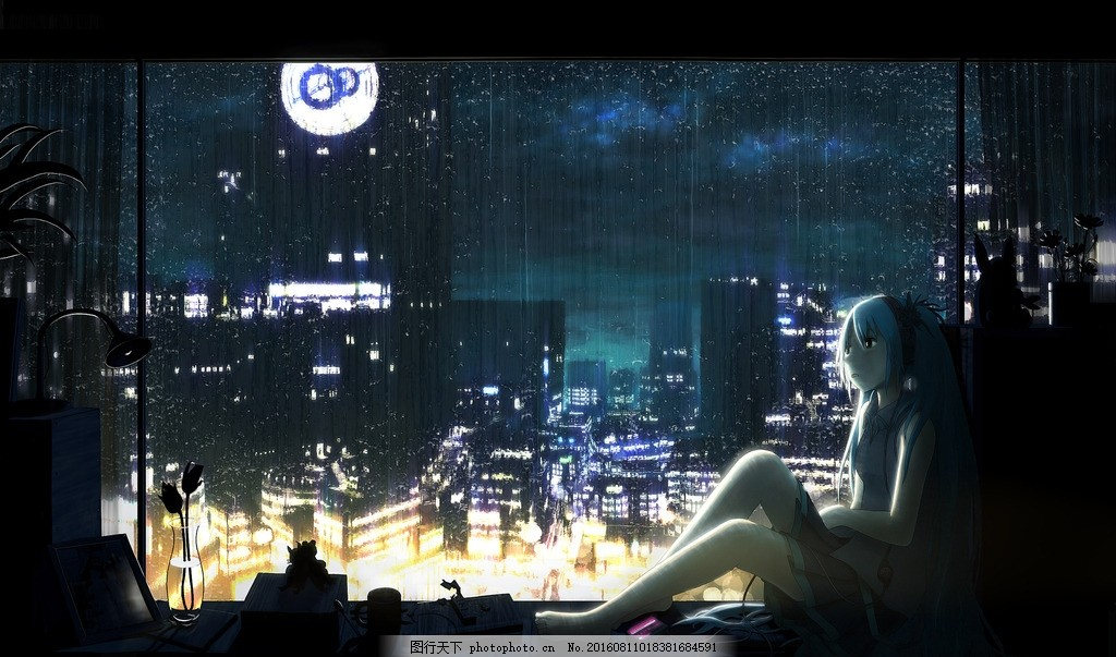 初音 炫彩 湖蓝 治愈 歌姬 葱绿 城市 雨夜 明月 灯火 窗台
