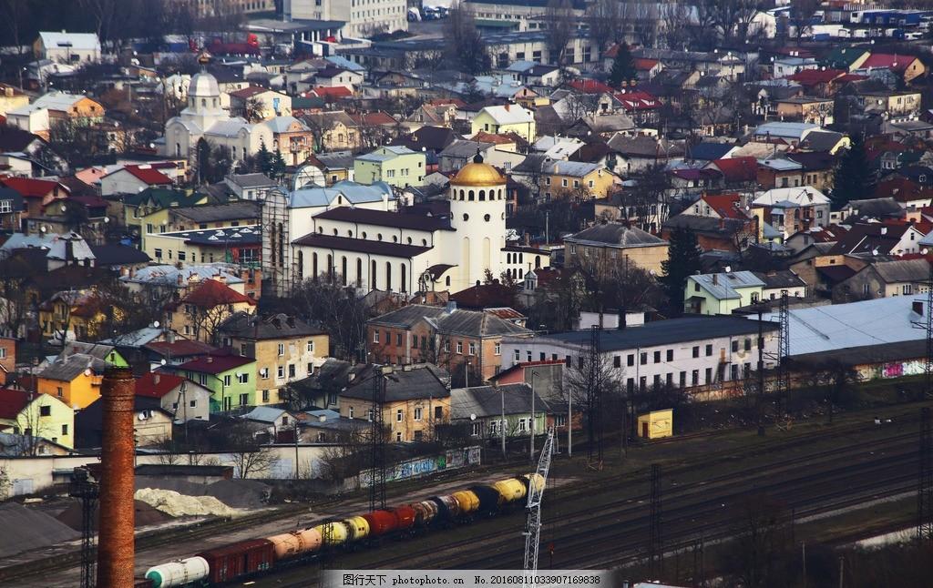 国外村庄集镇 小镇 火车路 国外风景 西方建筑 摄影 国外旅游