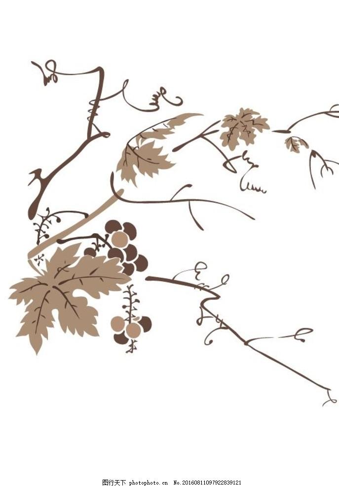 葡萄 水墨画素材 水墨画植物 中国画 水墨写意 水墨画 水墨风景 无框
