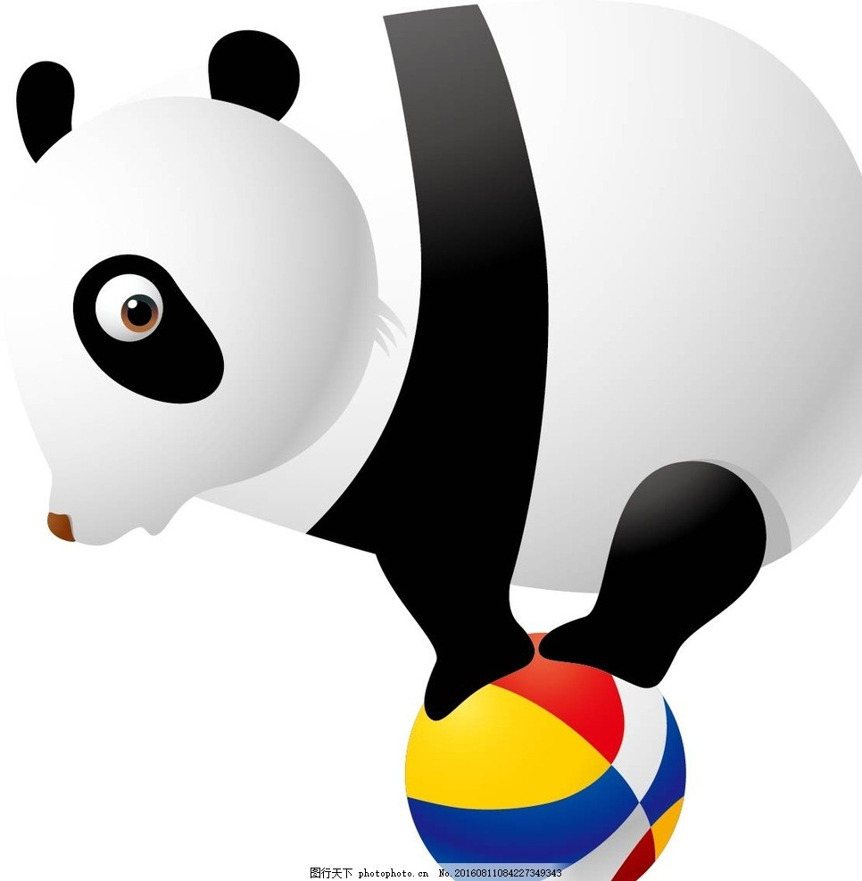 熊猫 动物 卡通动物 矢量素材 幼儿园墙画 墙画 卡通贴纸 小动物 可爱