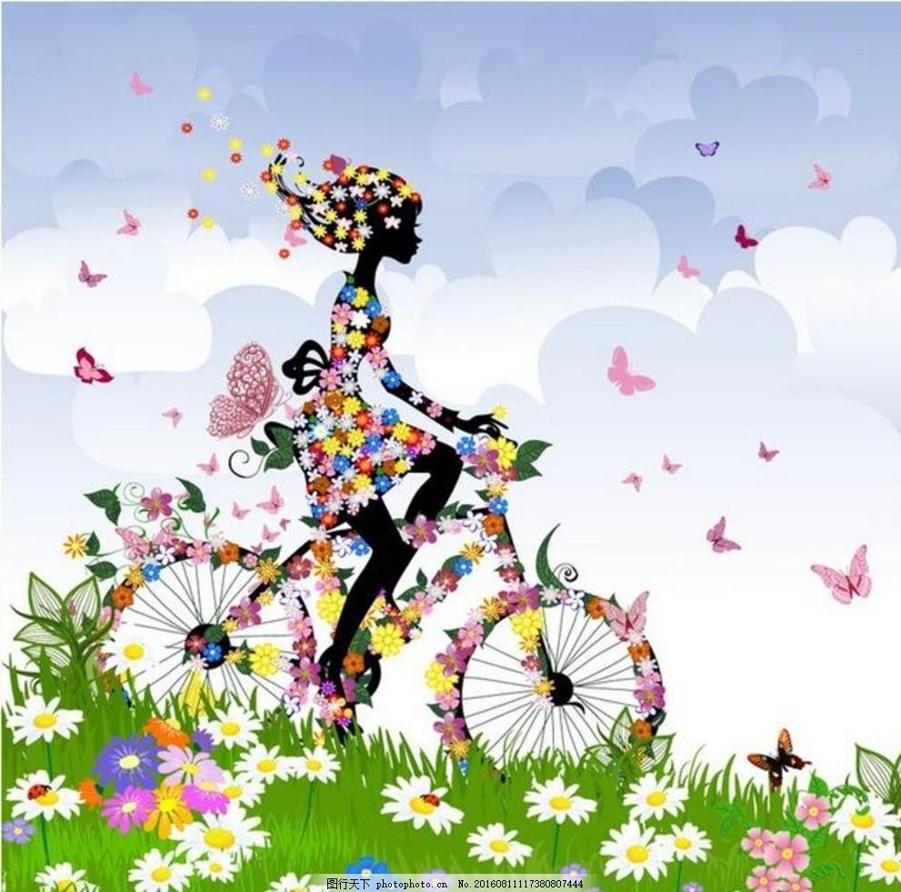 骑着花朵自行车的女孩
