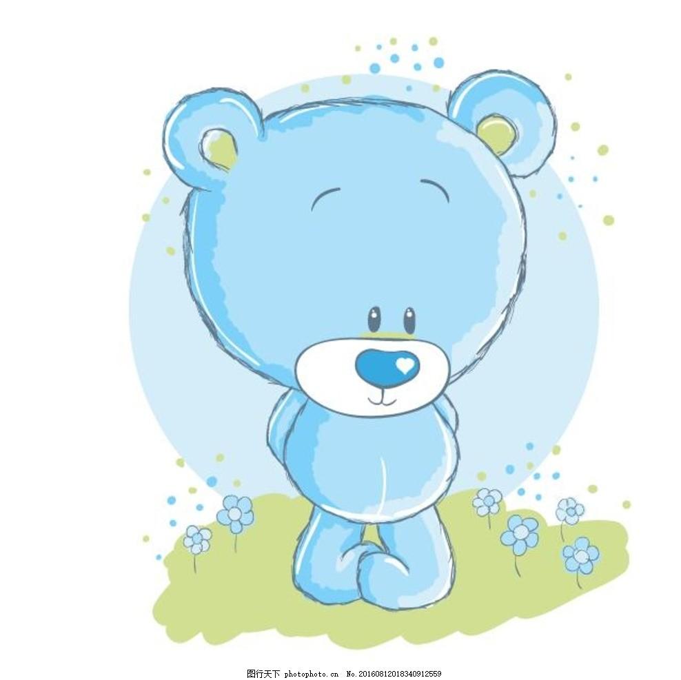 蓝色熊 儿童画 童话世界 卡通花草 背景素材 婴幼儿插画 婴儿用品店铺图片