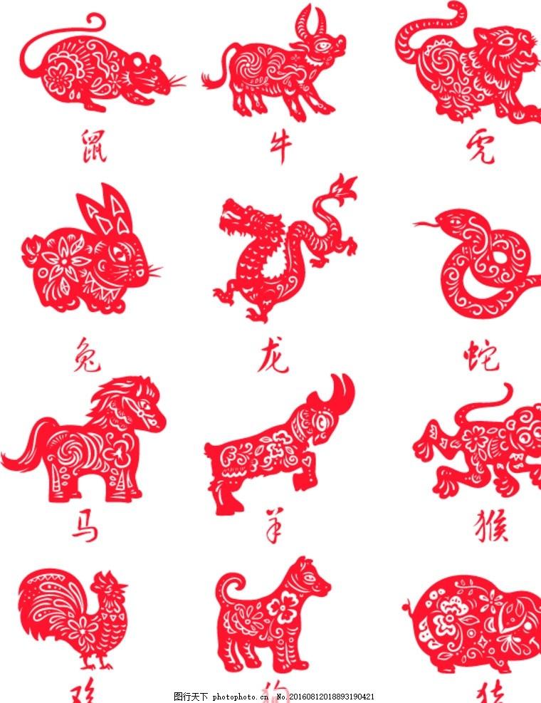 十二生肖剪纸 红色 喜庆 中国风 鼠牛虎兔龙蛇马羊