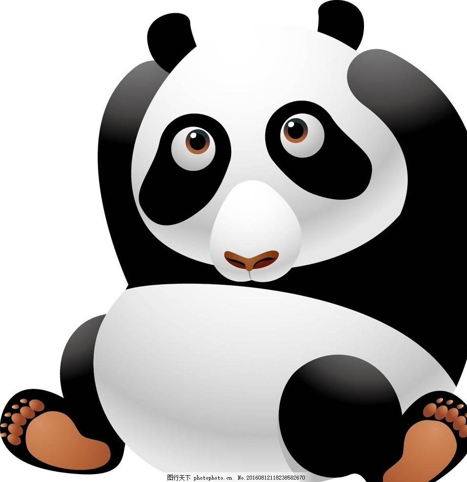 熊猫 大熊猫 国宝 老虎 动物 卡通动物 矢量素材 幼儿园墙画