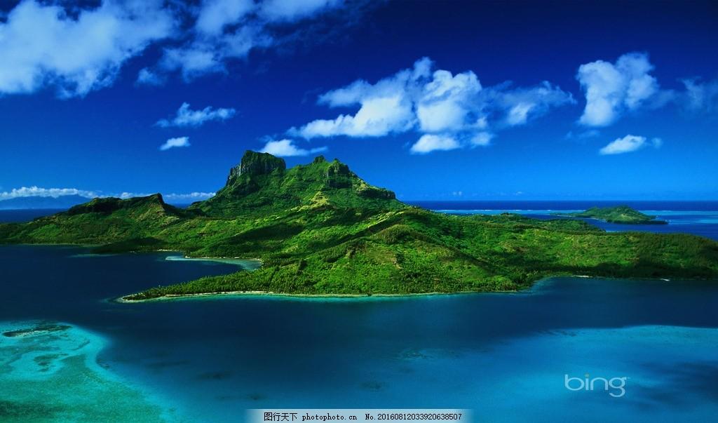 岛 北美 度假海边 度假海滩 大海 海岸 沙滩 椰子树 绿色 风景素材
